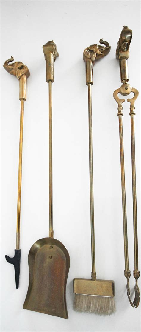 Brass Fireplace Tools vintage set of solid brass elephant fireplace tools at 1stdibs