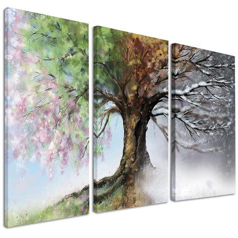 5 Piece Bedroom Set Queen designart tree with four seasons 3 piece graphic art on