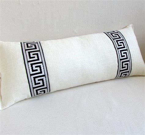 greek key black  white button bolster pillow