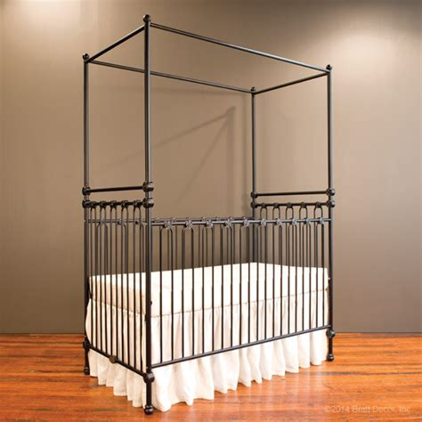 Joy Canopy Crib Distressed Black Distressed Baby Cribs