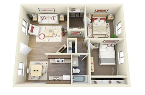 House Plans 2 Bedroom by 2 Bedroom Apartment House Plans