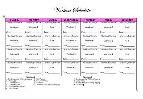 workout schedule for search results calendar 2015
