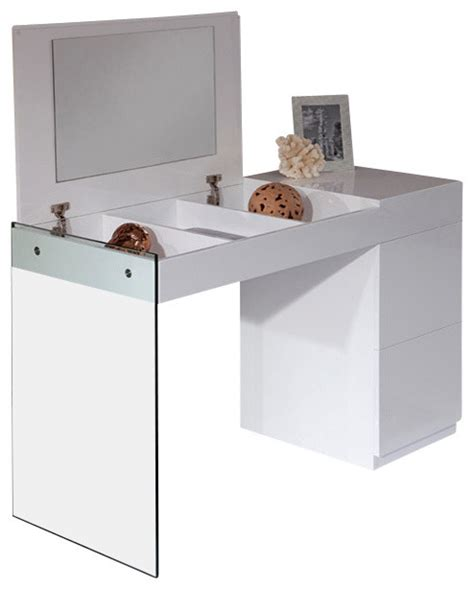 Floating Makeup Vanity by Volare Modern White Floating Glass Vanity With Mirror