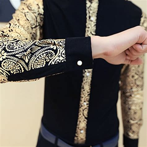 Kemeja Black Floral 5424 ouye mens luxury golden floral sleeve casual shirt black us m chest 38 quot tag asian