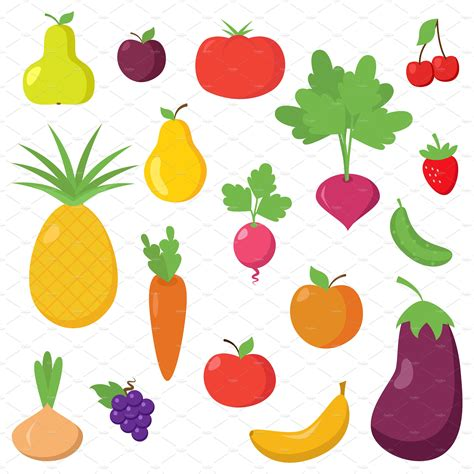 vegetables vector fruit and vegetable vectors clipart illustrations