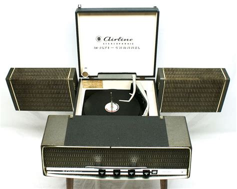 Style Turntable Console Plays Nearly New Fangled Cds by Airline Stereophonic Multi Channel Record Player Vintage