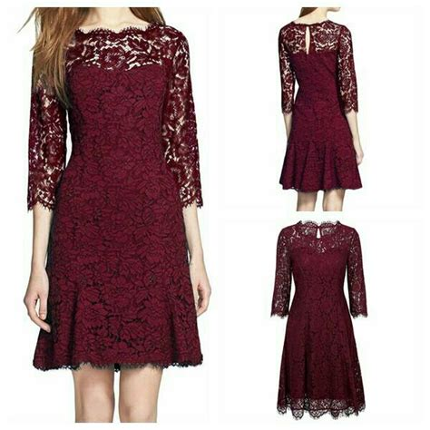 Dress Brukat dress brokat maroon dress brokat dress pesta brokat