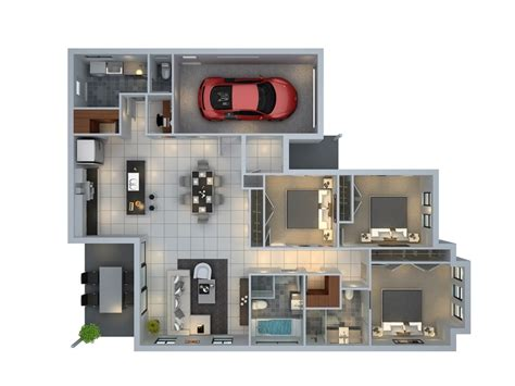 Home Plan Design 3d 3 Bedroom Apartment House Plans