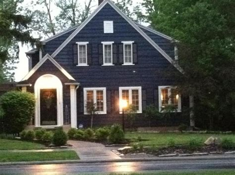 blue and white house navy blue house exterior white trim black door and
