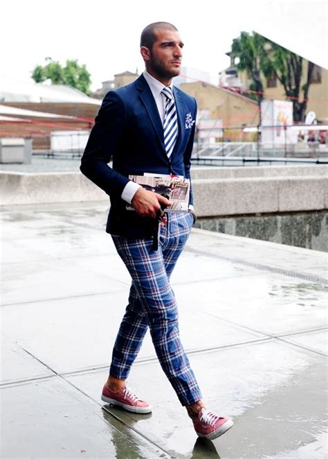 Poyid Panst Navy Sf navy blazer striped tie plaid sneakers sartorial things navy blazers and