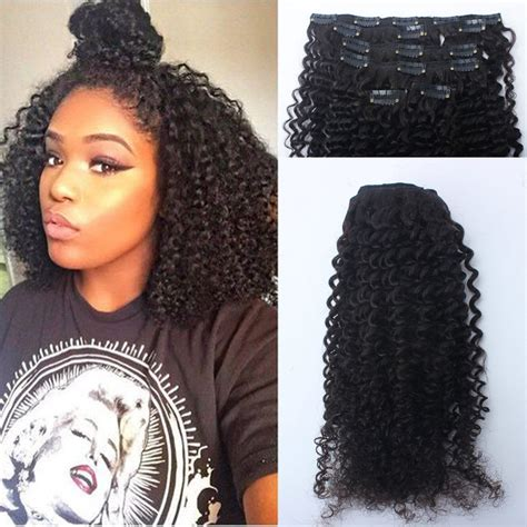 Hairclip Curly Max 120g american afro curly clip in human hair extension remy peruvian