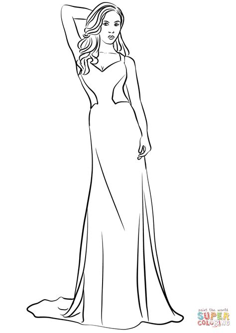 dress coloring pages v neck prom dress coloring page free printable
