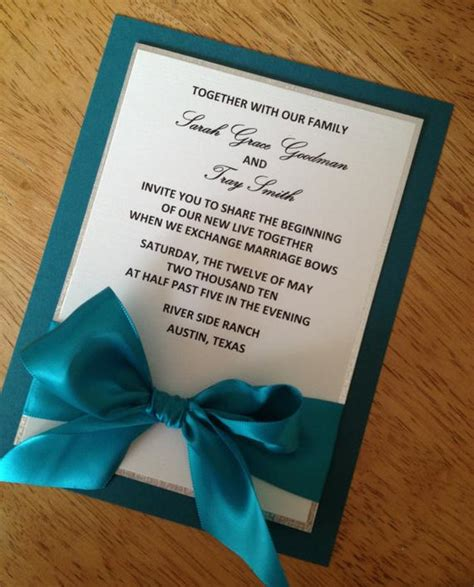 items similar to teal and silver wedding invitation on etsy