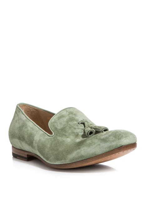 suede tassel loafers for mcqueen suede tassel loafers in green for lyst