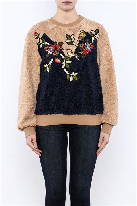 think closet cozy patched sweater from williamsburg by