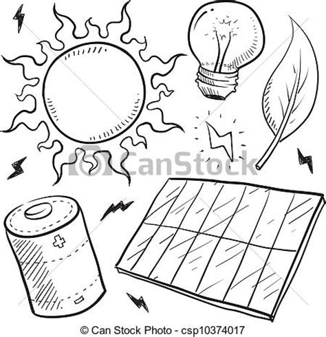 doodle electricity vector clip of solar power objects sketch doodle