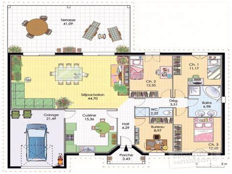 Plan De Maison Plain Pied 4 Chambres 3547 by Plan Maison Contemporaine Plain Pied 4 Chambres Id 233 Es