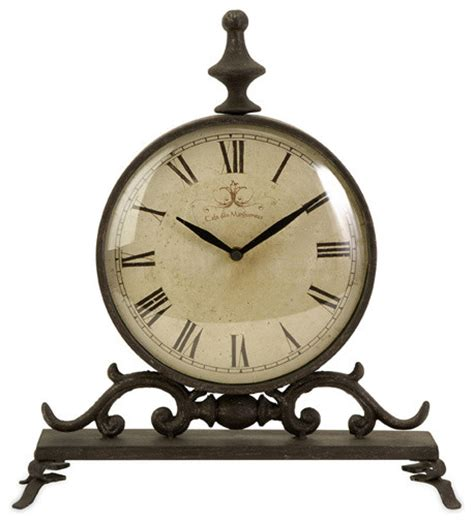 vintage iron table clock transitional desk and