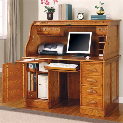 oak wood computer desk oak roll top computer desk home furniture design