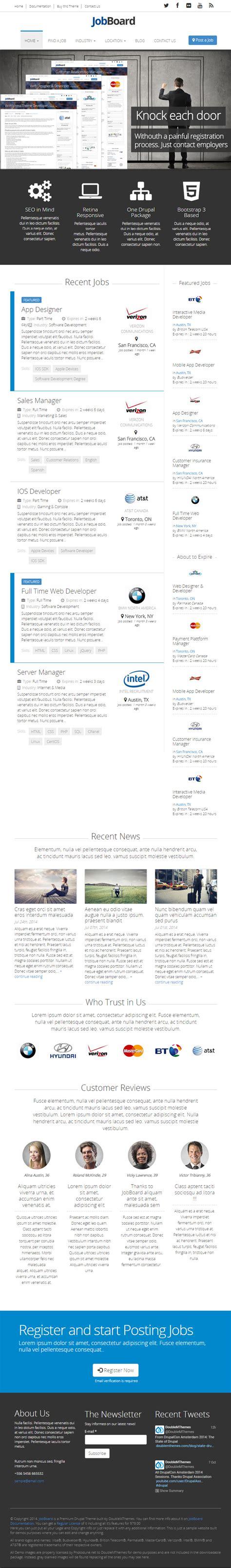 drupal themes job portal jobboard premium responsive retina drupal job board theme