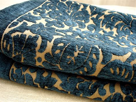 damask chenille upholstery fabric midnight blue and beige chenille damask high end upholstery