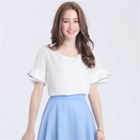 Blouse Korea Jerapa yoco womens ruffle sleeve blouse japanese korean fashion ebay