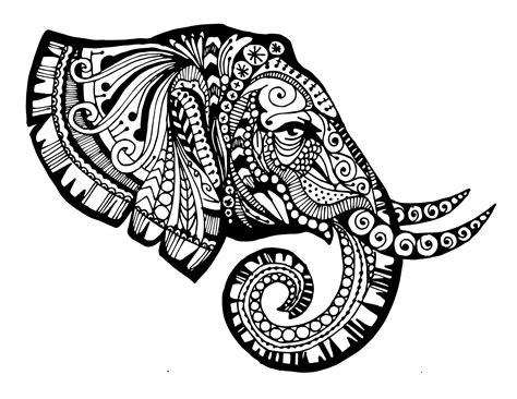 elephant mandala coloring pages printable zentangled elephant printable monsters creative and