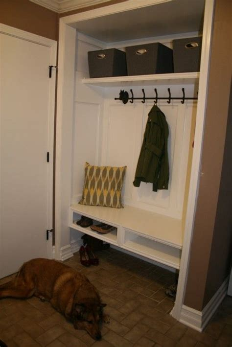 Closet converted Mudroom  open space below is perfect for