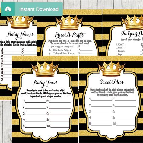 Black and Gold Royal Prince Baby Shower Games ? D271