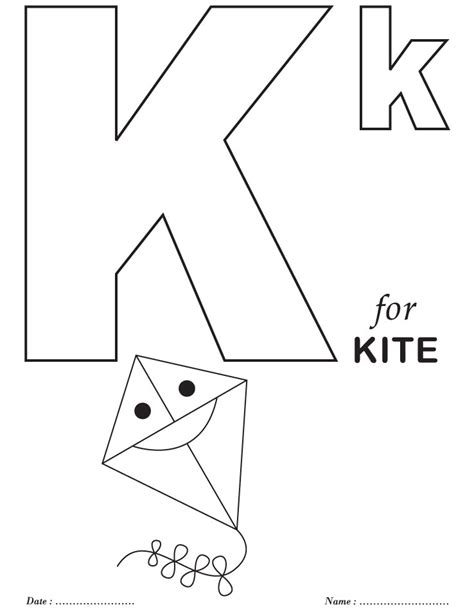 kite coloring pages for kindergarten k is for kite free printable coloring page good