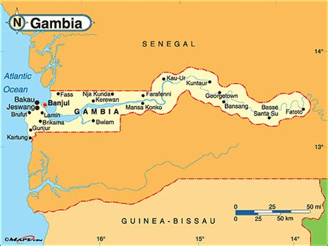 gambia world map gambia the political map by maps from maps