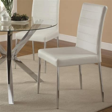 Vinyl Dining Room Chair Cushions Coaster Vance Contemporary Dining Chair With White Vinyl