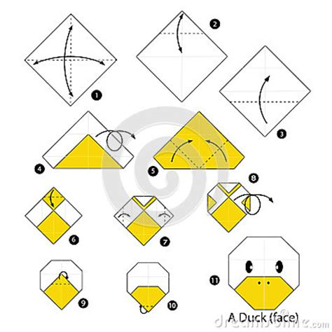 How To Make Paper Duck Step By Step - step by step how to make origami duck stock