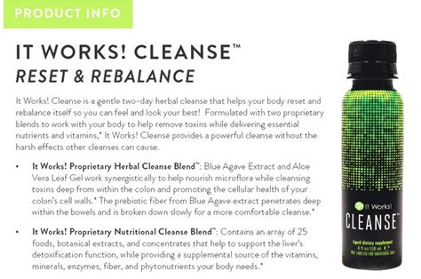 How Detox Works by It Works Cleanse Product Information It Works
