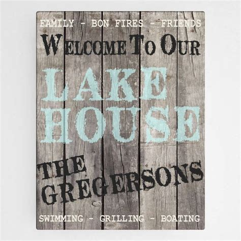 Lake Signs Wall Decor by Personalized Lake House Canvas Wall Hanging Sign Cabin