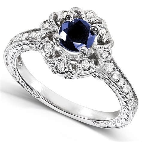 engagement ring 1 carat antique sapphire and diamond engagement ring