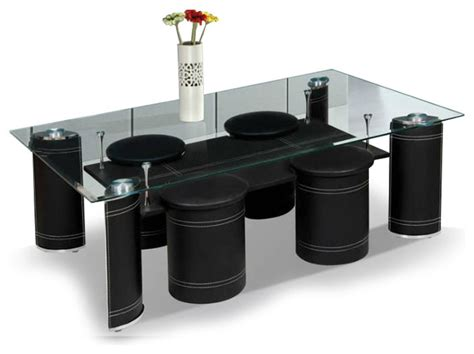 Black Coffee Table With Stools by Modern Black Leather Coffee Table With Stools Vigo