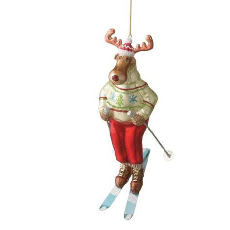 red headed girl water skier ornament skiing reindeer ornament midwest cbk