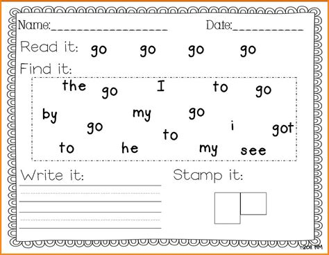 9 kindergarten sight words worksheets mahakumbh melanasik