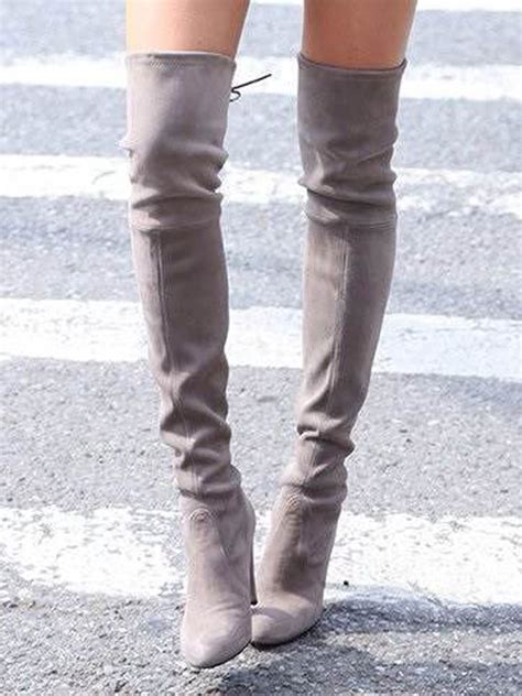 gray the knee boots stretch suede laced back high