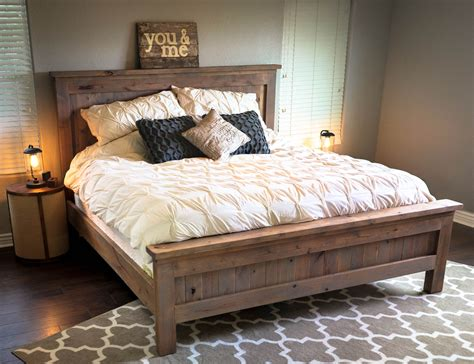 farmhouse bedding farmhouse king bed knotty alder and grey stain do it yourself home projects from
