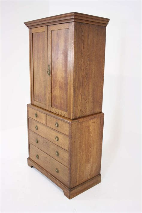 linen armoire storage scottish oak arts and crafts linen press wardrobe chest