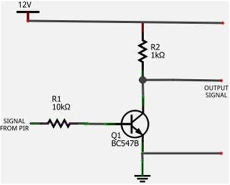 transistor not gate inverter pir sensor transistor inverter not gate circuit diagram
