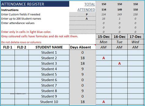 student attendance register excel template indzara