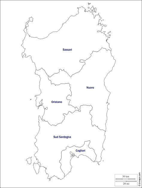 Sardegna mappa gratuita, mappa muta gratuita, cartina muta