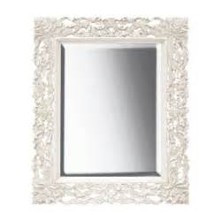 Chateau antique white large french carved mirror