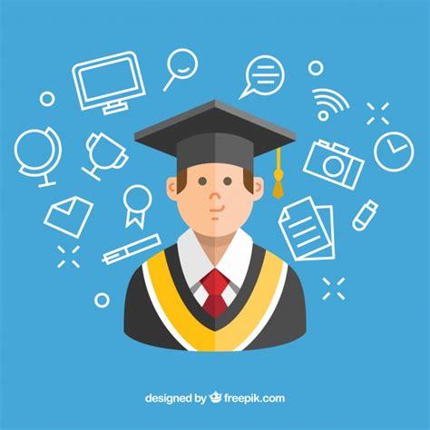 www freepik es plantillas de graduacion fondo azul con estudiante y art 237 culos de graduaci 243 n