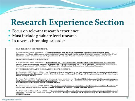 research experience section focus