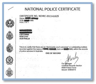 National Criminal History Record Check South Australia Certificate Sle Papel Lenguasalacarta Co
