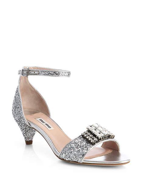 glitter sandals miu miu jeweled glitter kittenheel sandals in silver